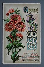 R&L Postcard: Greetings, Best Wishes, Beautiful Letterpress Printers Block Type