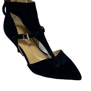 ELLEN TRACY Womens Shoes Size 9 Black Suede Leather Heels
