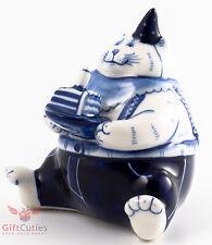 Gzhel Russian Handpainted Porcelain Figurine big fat lazy cat w birthday cake