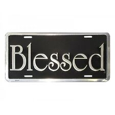 BLESSED License Plate Auto Tag Silver / Black Christian Religious