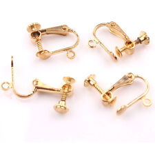 2/10Pcs Copper Gold/Silver Plated Clip On Screw Back Earrings Findings DIY