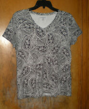 Croft & Barrow Black & White Paisley Print Short Sleeve Top Size Medium