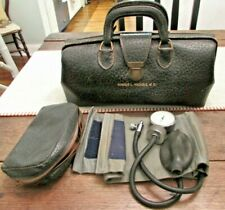 Antique Lilly Black Leather Doctor Bag Alligator Skin/ Tycos Blood Pressure Cuff