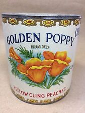 Vintage Sample Can CA Fruit Canners Golden Poppy Yellow Cling Peaches - 1900-20
