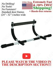 DOORWAY pull up bar push up sit up workout chin-up exercise gym    ! SEE VIDEO !