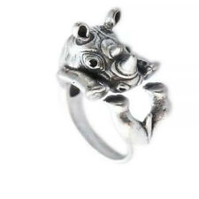 Rhino Rhinoceros Safari Animal Silver Ring Adjustable Adjustable Wrap Size 5 - 8