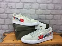 PUMA LADIES UK 6 EU 39 SUEDE CLASSIC EMBROIDERED FLORAL LIGHT GREY TRAINERS