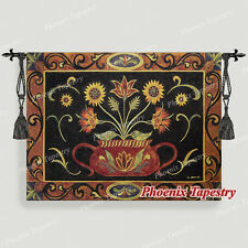 """Potted Folk Art Floral Tapestry Wall Hanging, Cotton 100%, 53""""x41"""", UK"""