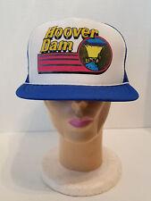 Hoover Dam White / Blue Foam Mesh Vintage Trucker Snap Back Hat 80's