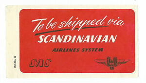 Authentic Vintage Shipping/Luggage Label ~ SCANDINAVIAN AIRLINES SYSTEM / SAS