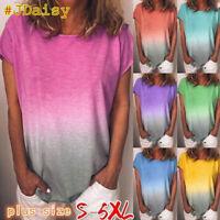 Women's Loose Short Sleeve T-Shirt Ladies Gradient Summer Tops Blouse Plus Size