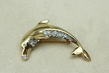 Vintage 1980s Diamante Rhinestone & Gold LEAPING DOLPHIN BROOCH