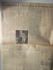 Louisville Courier Journal 1-31-1961. JFK State Of The Union Address! (text)