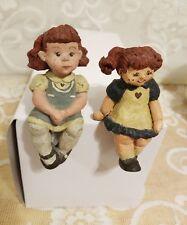 Sarah's Attic Little Girl Shelf Sitter & Friend Very Sweet ! Very Nice Condition
