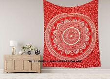 Red Gold Ombre Mandala Bedding Throw Tapestry Wall Hanging King Bedspread Indian