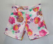 AQUA BLU Brand White Floral Print Swimwear Board Shorts Size 8 BNWT #TB72