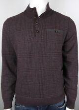 Hickey Freeman Cashmere Merino Wool Plaid Suede Trim Sweater Sz Large L