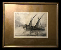 Louis Orr 1923 Etching Hand Signed Framed Nautical Ships  Connecticut 1879- 1961
