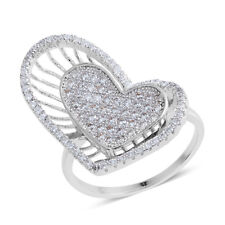 WHITE CLEAR SIMULATED DIAMOND PAVE 3 DIMENSIONAL SILVER TONE FASHION RING SIZE 7