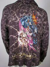 Ed Hardy Mens Hoodie Sweater Panther Studded, Dark Grey Charcoal, M, Medium