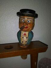 Rare Anri Hand Carved Mechanical Bottle Stopper Cigar smoking eye moving