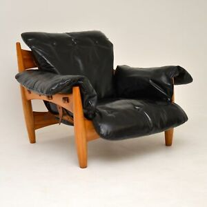 """RETRO """"SHERIFF' LEATHER ARMCHAIR BY SERGIO RODRIGUES VINTAGE 1960's"""