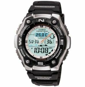 Casio AQW101-1AV,  Fishing Timer Watch, 200 Meter WR, Thermometer, Black Resin