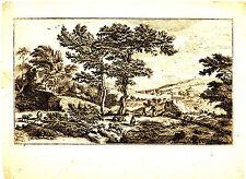 Grafik,Kupferstich,18.Jhdt,Landschaft mit Ziegen u.Hirten,Burgen im Hintergrund