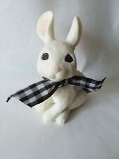 """Sarah's Attic Bunny Rabbit with Black and White Checkered Bow 3 3/4"""" Tall Tall"""