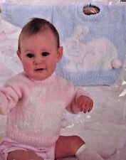 KNITTING PATTERN - SWEET BABY JUMPER/SWEATER WITH RABBIT MOTIF ON FRONT 18 - 24""