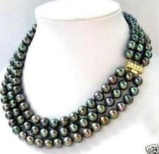 ELEGANT triple strand 8-9MM AAA++ BLACK TAHITIAN PEARL NECKLACE 14K 17-18-19INCH