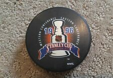 VTG 1996 NHL Stanley Cup Finals Hockey Puck Panthers Avalanche In Glas co