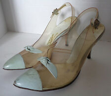 Vintage Clear Plastic and Blue High Heel Shoes Pointed Toe 7 1/2 Simco