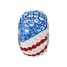 Swarovski BeCharmed Pavé Flag USA Bead Siam Sapphire Opal Color Stainless Steel