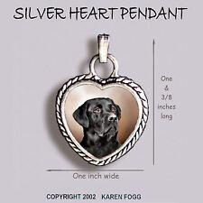 Labrador Retriever Dog Black Adult - Ornate Heart Pendant Tibetan Silver