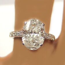 Diamond 4.03 Carat Oval and Round Cut Engagement Ring 18k White Gold
