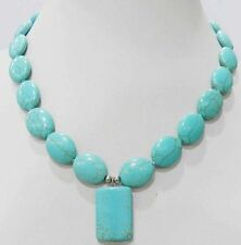 Tibet Jewelry Ancient Tone Turquoise Bead Necklace 18""