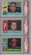 1960 TOPP H. ROBINSON S. JONES POWERS 410 422 416 3-CARD LOT NR MINT+ PSA 7