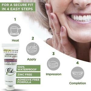 Comfort Lining a waterproof & zinc free thermoplastic denture adhesive 1 oz.