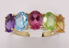 14k YELLOW GOLD  BLUE TOPAZ, PERIDOT, PINK TOPAZ, AMETHYST AND CITRINE MIX RING