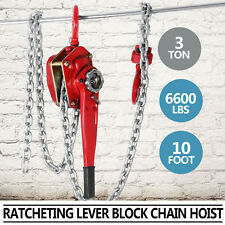 3Ton 10ft Chain Lever Block / Ratchet Puller Hoist Load Brake Red CA Shipping