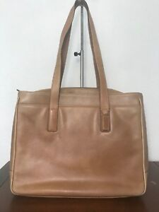 Coach Hamptons Brown Padded Laptop Business Tote Brief Case Black Leather 5209