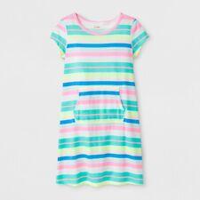 Cat & Jack Girls' Adaptive Knit Stripe Dress, Rainbow, Size Large (10/12), NWT