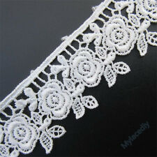 20pcs Rose Flower Vintage Embroidered Lace Edge Trim Ribbon Wedding Applique DIY