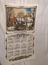 VINTAGE LINEN TEA TOWEL 1970 YEAR WINTER COUNTRY CURRIER & IVES  OLD GREEN MILL