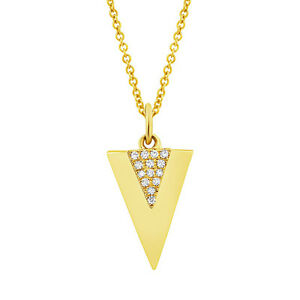 0.03ct 14K Yellow Gold Natural Round Cut Diamond DoubleTriangle Pendant Necklace