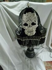 Skull Gothic/Victorian Beaded Fringe OOAK Halloween Table Lamp & Shade Oddities