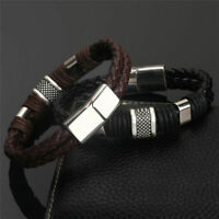 Mens man boys Leather Braided Wristband Bracelet Stainless Steel titanium Clasp