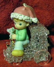Enesco Precious Moments Boy On Train Christmas Ornament- New In Box