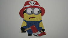 DESPICABLE ME MINION FIREMAN FIREFIGHTER PERSONALIZE IT EMBROIDERED PATCH BADGE